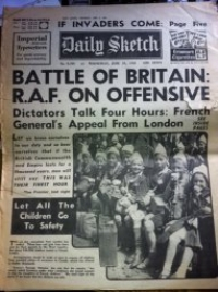 BATTLE OF BRITAIN NEWSPAPER (19th June 1940) DAILY SKETCH
