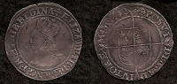 ELIZABETH I SHILLING. 2nd Issue, Bust 1a, (mm, Cross Crosslet) 1560-1561. Nice VF (RARE)