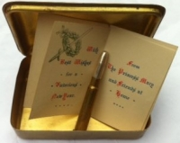 QUEEN MARY 1914 CHRISTMAS BRASS BOX WITH CARD & SILVER BULLET PENCIL