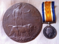 War Medal & Death Plaque. 2/4th Oxs & Bucks L.I. KIA 25th  October 1918.