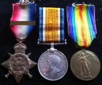 1914 Star & Bar Trio (Serious Wounds?) 1st Notts & Derby Regt.