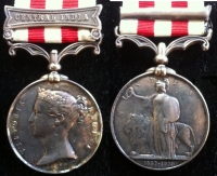 INDIAN MUTINY MEDAL ´Central India´ To: Thos. GILLEN. 83rd Foot.(County of Dublin) (ex-Brooched on Obverse)