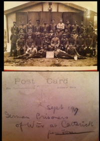 WW1 Pair. W. Yorks Reg. + E.Yorks & RARE 8th Leeds Rifles Badges (POW Guard?) Catterick German POW Photo