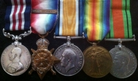 MILITARY MEDAL,1914 Star & Bar Trio and Defence Medal. ROYAL ENGINEERS (Signals Coy,) With its Original Citation Document. (RARE)