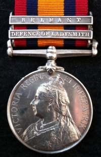 A Very Rare & Important Q.S.A.Medal. (DEFENCE of LADYSMITH, BELFAST) 