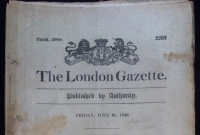 A COPY OF THE ORIGINAL 'LONDON GAZETTE' of FRIDAY JUNE 16th 1848, CARRYING THE 'CLAIM NOTICE' & CLAIM FORMS FOR THE NAVAL GENERAL SERVICE MEDAL 1848 ( and Clasps ).