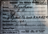 "AN EXCITING 1st JULY 1916 ""FIRST DAY OF THE SOMME"" Military Medal & 1914-1915 Trio. To: 1921 Sgt E. H. Blanthorn.1/1st South Midland Field Ambulance, R.A.M.C. (Seriously wounded 2nd July losing his right eye due to a shell burst.)"