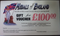"""NEW"" .....WE ARE NOW PLEASED TO OFFER OUR NEW ""CASH GIFT VOUCHERS""  AT VALUES  OF: £50, £100, £250, & £500. These make superb gifts for the medal collector or an efficient way to save for that much coveted item."