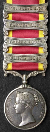 "An Excessively Rare ""FOUR CLASP"" 2nd China War Medal. Complete with the"