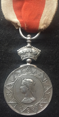 A SCARCE ABYSSINIA WAR MEDAL (1869) To: George Moody. HMS OCTAVIA. EF.  (On original ribbon with copy medal roll)