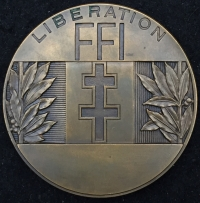"A RARE & SELDOM SEEN LARGE BRONZE MEDAL (1944) By M. L.BAZOR, ""FRENCH FORCES of THE INTERIOR"" RESISTANCE, WHO GREATLY ASSISTED THE ALLIES AFTER D-DAY. WITH RARE F.F.I. BERET BADGE."
