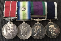 A UNIQUE ROYAL NAVY GROUP OF FOUR. B.E.M.(Military) South Atlantic (Rosette) HMS BRILLIANT. (T.22 Frigate) G.S.M.(Mine Clearance Gulf of Suez) only 250 clasps.LSGC. R.N.(MEDIC, NP1015 Clearance Diving Unit.)