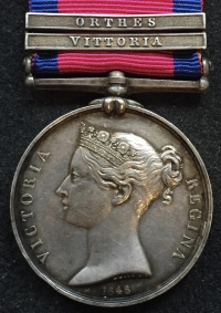 "A SUPERB ""CAVALRY"" (Two Clasp) MILITARY GENERAL SERVICE MEDAL 1848. [VITTORIA] & [ORTHES] To. GEORGE HARWOOD 15th (Duke of Cumberland's) Hussars."