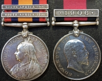 A SCARCE & HIGHLY DESIRABLE Q.S.A. & NATAL REBELLION (1906) PAIR .To: 2568 Trooper. C.R. MATHIAS. NATAL POLICE.